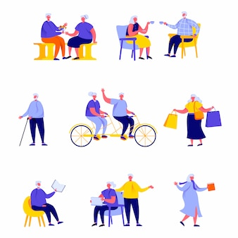 Satz glückliche ältere menschen der flachen leute, die tägliche tätigkeitscharaktere durchführen