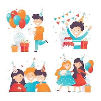 Satz glückliche kinder, die geburtstag feiern. jungen und mädchen in partyhüten. geschenkboxen und glänzende luftballons