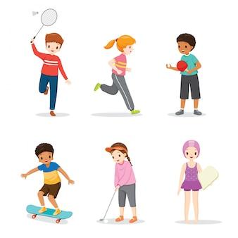 Satz glückliche kinder, die sport für gute gesundheit spielen und ausüben