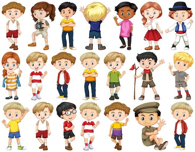 Satz glückliche kinder, die verschiedene aktionen tun