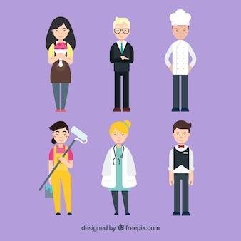 Satz glückliche leute mit verschiedenen jobs in der flachen art
