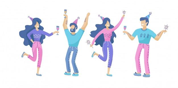 Satz glückliche menschen an einer festlichen party
