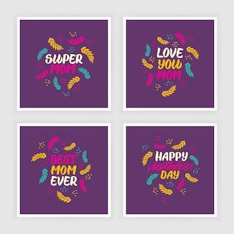 Satz glückliche muttertagsbeschriftungsgrußkarten mit dekorativen blättern. flache grafische illustration für grußkarten, cover, poster. handgezeichnete vektorkalligraphie.