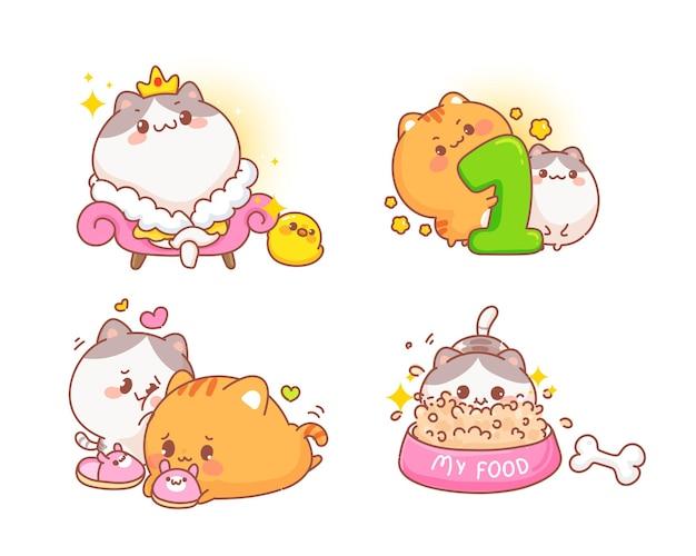 Satz glückliche niedliche katzen verschiedene gestenkarikaturillustration