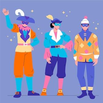 Satz glücklicher charaktere, die karnevalskostüme tragen