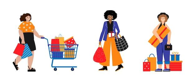 Satz glücklicher frauen shopaholic weibliche käufer buyer