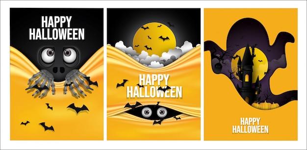 Satz glücklicher halloween-hintergrund.