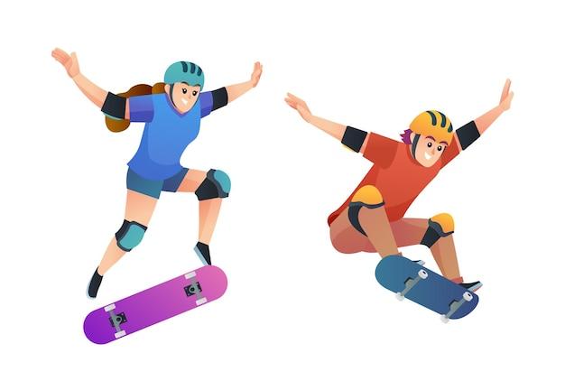 Satz glücklicher junge und mädchen, die in der springenden posenillustration skateboarden