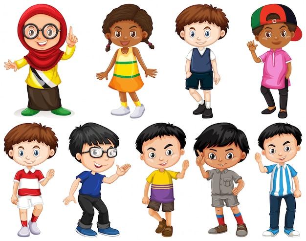 Satz glücklicher kinder, die verschiedene handlungen tun