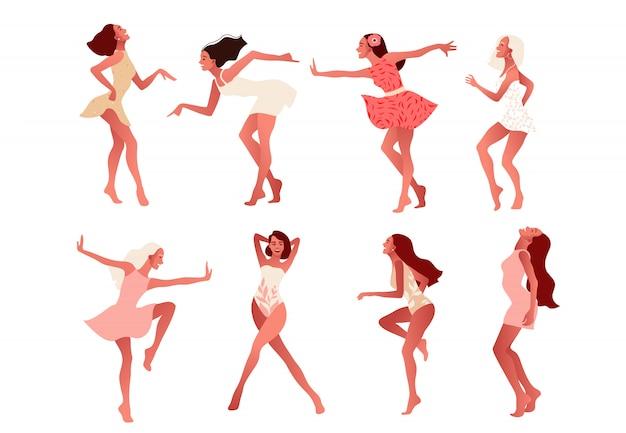 Satz glücklicher mädchen oder freunde, die tanzen und lachen.