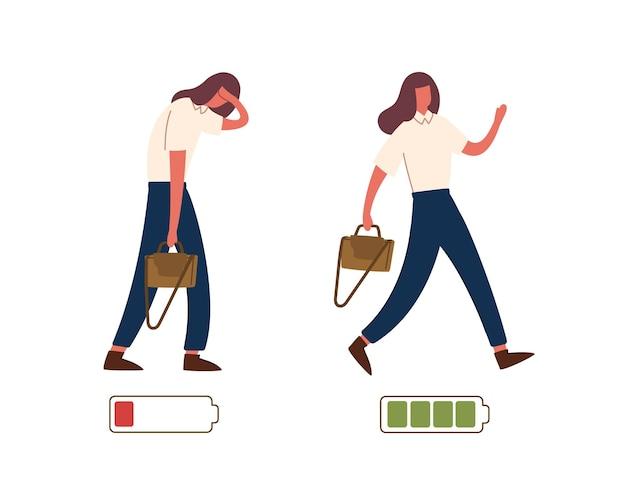 Satz glücklicher und unglücklicher weiblicher büroangestellter und lebensenergie- oder batterieladeanzeige