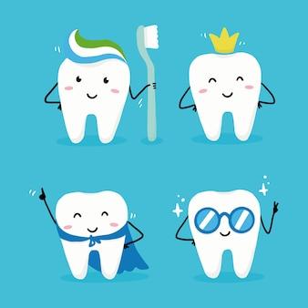 Satz glücklicher zahncharakter mit gesicht
