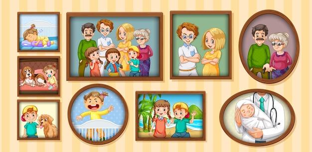 Satz glückliches familienfoto auf dem holzrahmen