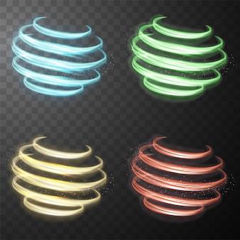 Satz glühende glänzende spirale zeichnet abstrakte lichtgeschwindigkeit und glänzende gewellte spur