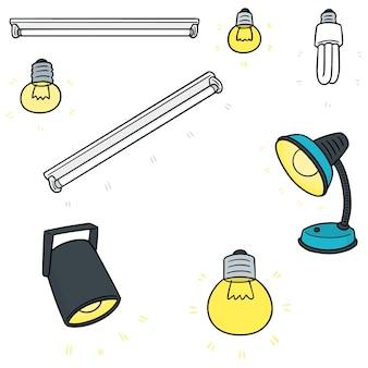 Satz glühlampe, lampe und scheinwerfer