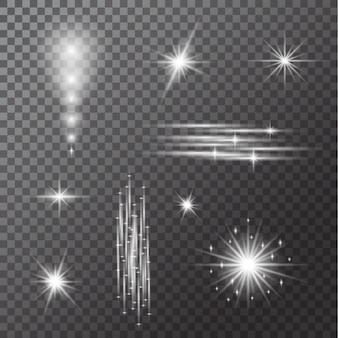 Satz glühlampen lokalisiert auf transparentem hintergrund