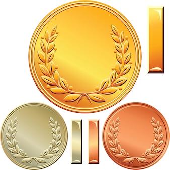 Satz gold-, silber- und bronzemedaillen für den ersten, zweiten und dritten platz