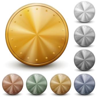 Satz gold-, silber- und bronzemünzen ohne inschriften