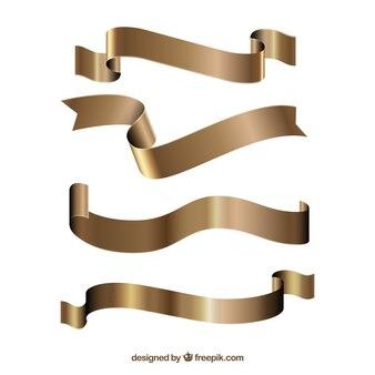 Satz goldene dekorative bänder