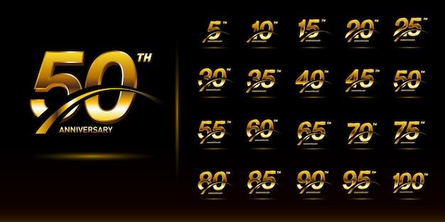 Satz goldene jubiläumsnummer mit swoosh-logo-feier