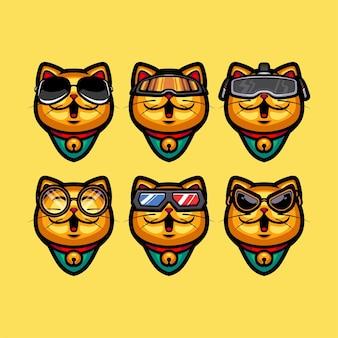 Satz goldene katze, die verschiedene brillen trägt
