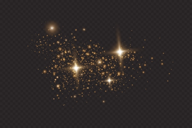 Satz goldene leuchtende lichteffekte lokalisiert auf transparentem hintergrund. sonnenblitz mit strahlen und scheinwerfer. glühlichteffekt. stern platzte vor funkeln.