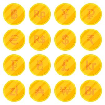 Satz goldene münzen in der unterschiedlichen währung