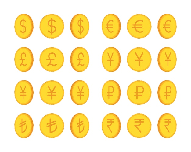 Satz goldene münzen, internationale währung