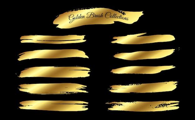 Satz goldene pinselstrich-sammlung