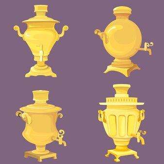 Satz goldene samoware. traditionelle russische weinleseobjekte.