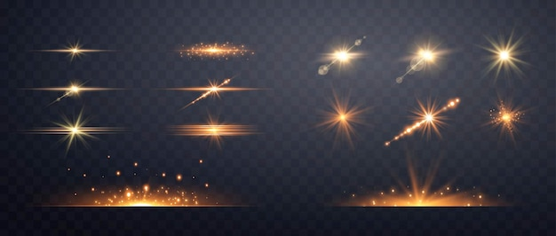 Satz goldene transparente lichtlinsen-flares-streifen. auf transparentem hintergrund isoliert
