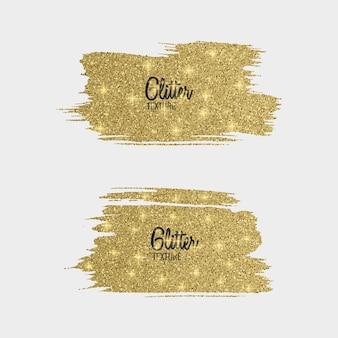 Satz goldener glitzerpinselstrich