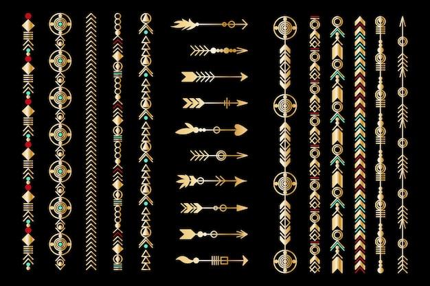 Satz goldener pfeil. sammlung von stammeselementen. geometrische trendige hipster-schmuckkollektion. vektor-design-elemente.