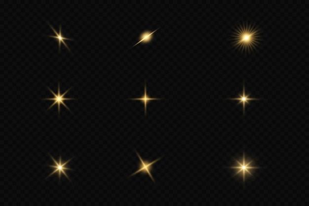 Satz goldener sterne auf schwarzem hintergrund