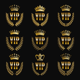 Satz goldvip-monogramme für grafikdesign auf schwarzem hintergrund.