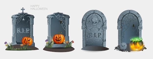 Satz grabsteine mit ruhe in frieden inschrift vektor-illustration. uralter riss. halloween-elemente für das dekorkonzept. isoliert auf weißem hintergrund