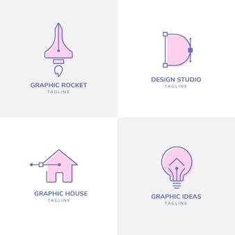 Satz grafikdesigner-logo-vorlagen
