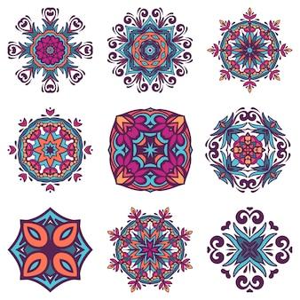 Satz grafisches abstraktes damast-ziermuster. ethnische stammes-zierfliesen des weinlesedesigns. damast abstrakte elemente