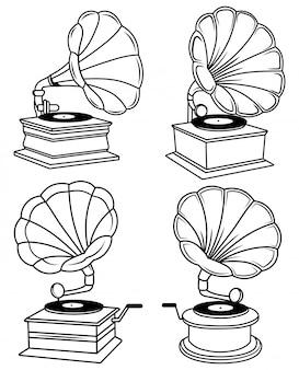 Satz grammophone. sammlung von retro-grammophonen für musikplatten. set vinyl-player.