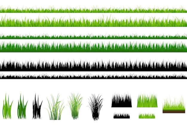 Satz gras, grün und umriss, lokalisiert auf weiß