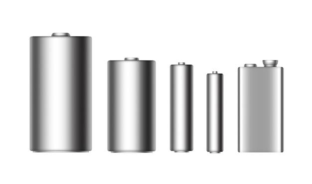 Satz grau-silbermetallisch glänzende alkalibatterien unterschiedlicher größe aaa, aa, c, d, pp3 und 9-volt-batterie nahaufnahme isoliert