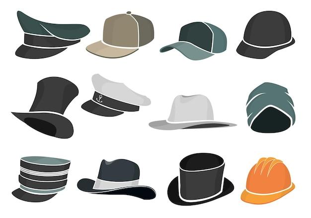 Satz graue flache hüte, militär und zivilist.