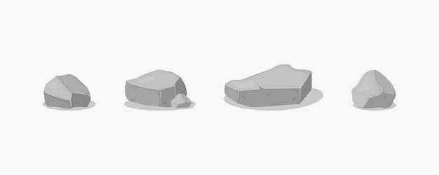 Satz grauer granitsteine verschiedener 3d formen graphit-steinkohle und felsen auf weiß
