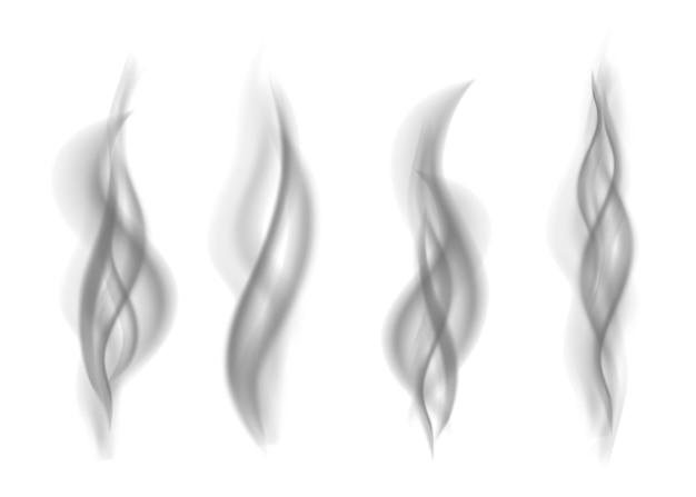 Satz grauer rauch lokalisiert auf weißem hintergrund. dunkler dampf. realistische smog-vektortextur.