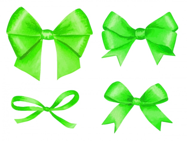 Satz grüne aquarell-satinschleifen.