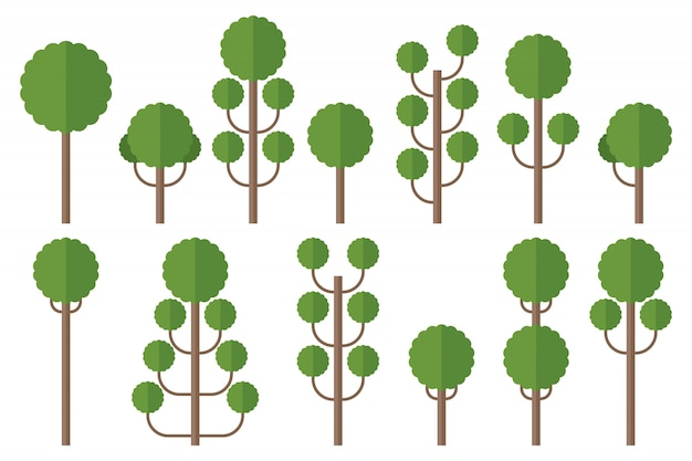 Satz grüne bäume illustration lokalisiert auf weiß