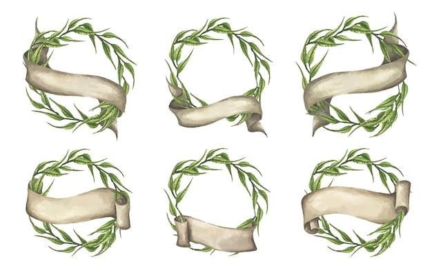 Satz grüne blätter kranz mit band