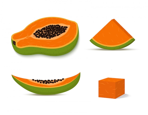 Satz grüne papaya