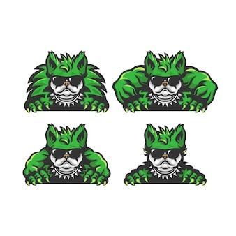 Satz grüner bulldoggenkarikatur. monsterkonzept.