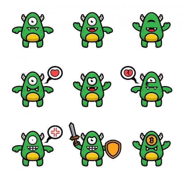 Satz grünes monster mit unterschiedlicher pose